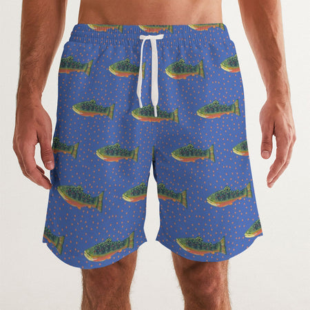 Periwinkle Brook Trout Men's Swim Trunks