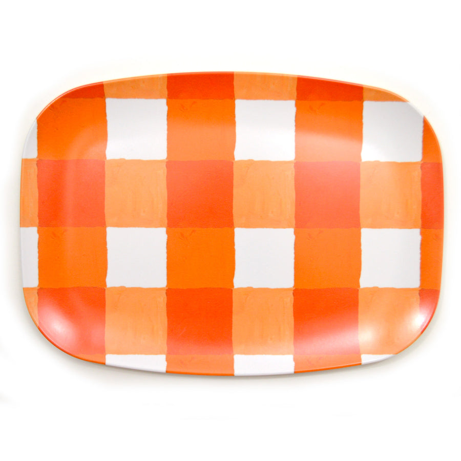 Citrus and White Buffalo Check Melamine Platter