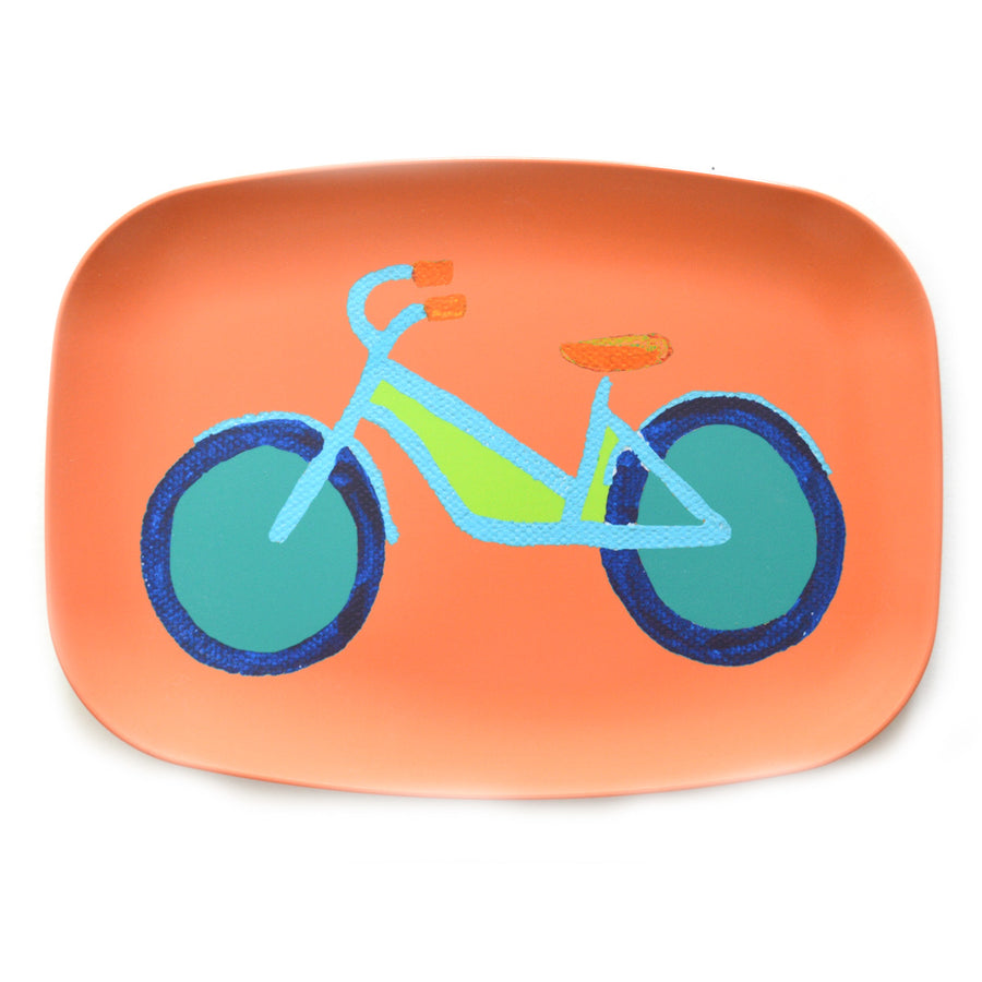Single Soft Orange Summer Bike Melamine Platter