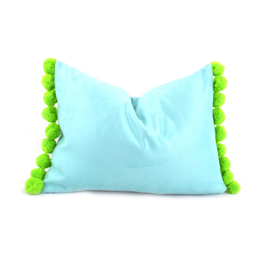 Aqua with Citron Pom Pom Lumbar Pillow