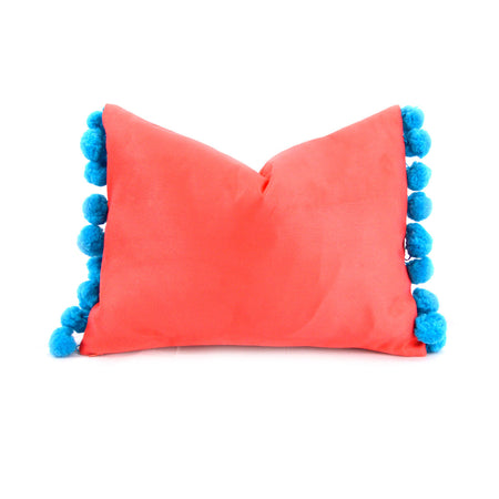 Geranium with Turquoise Pom Pom Lumbar Pillow