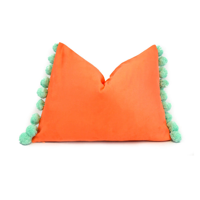 Tangerine with Mint Pom Pom Lumbar Pillow