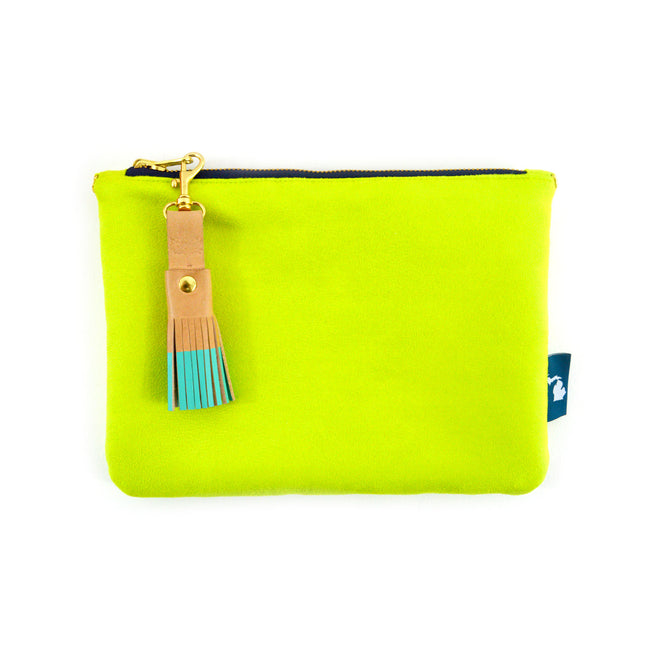 Citron Suede Crossbody Clutch
