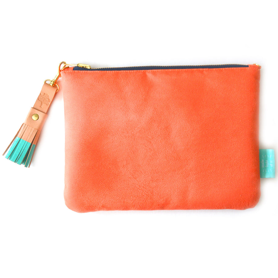 Grapefruit Suede Crossbody Clutch