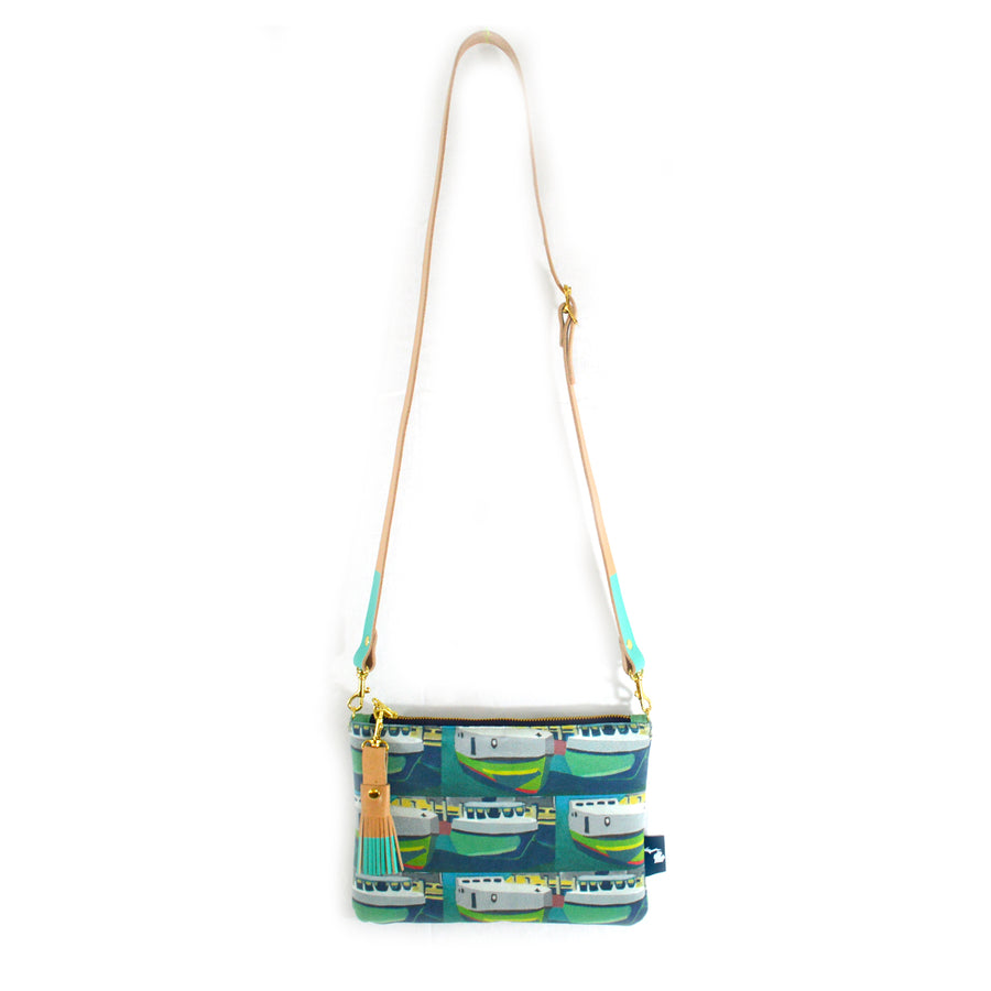 Staggered Tugs Suede Crossbody Clutch