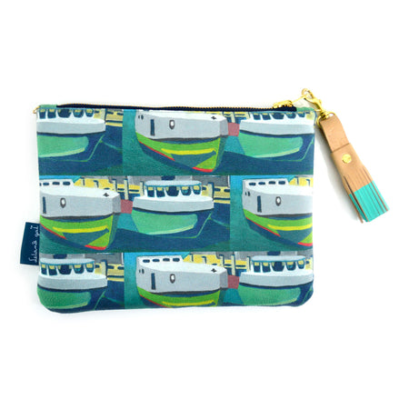 Green Staggered Tugs Suede Crossbody Clutch