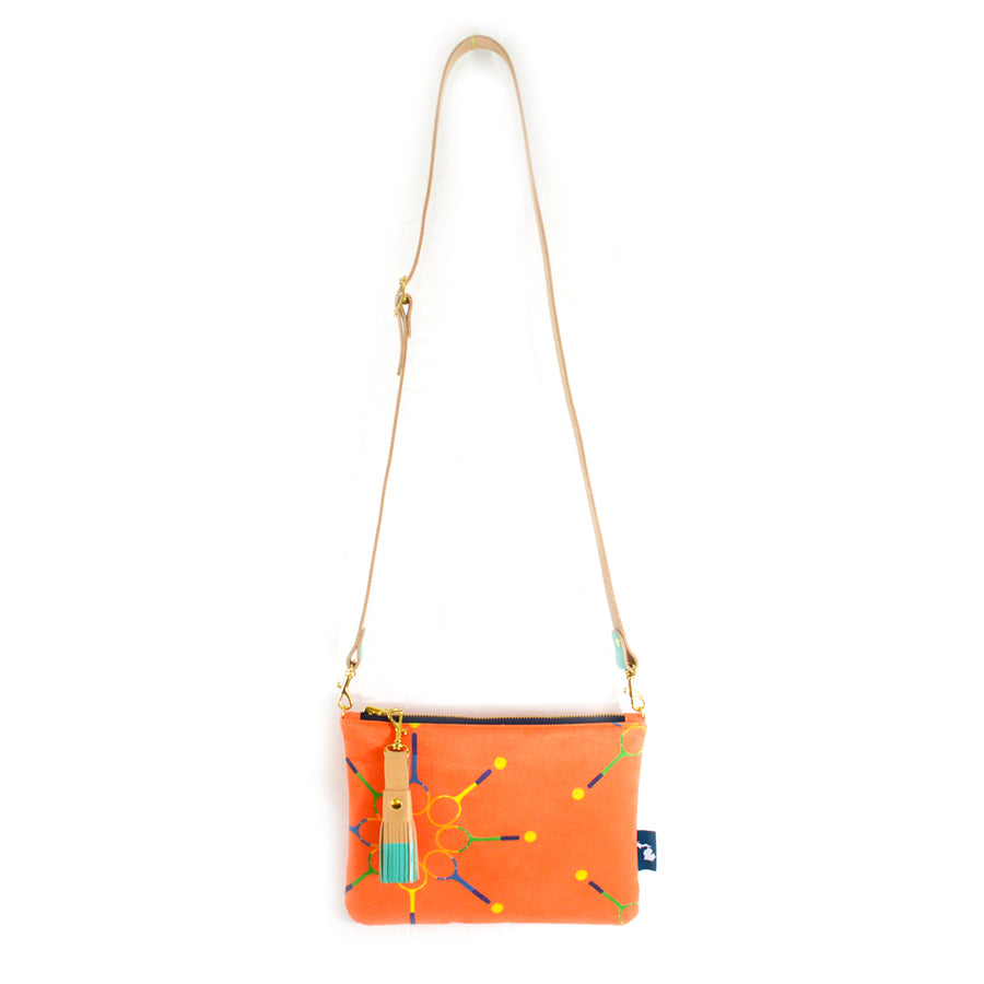 Tangerine Match Point Suede Crossbody Clutch