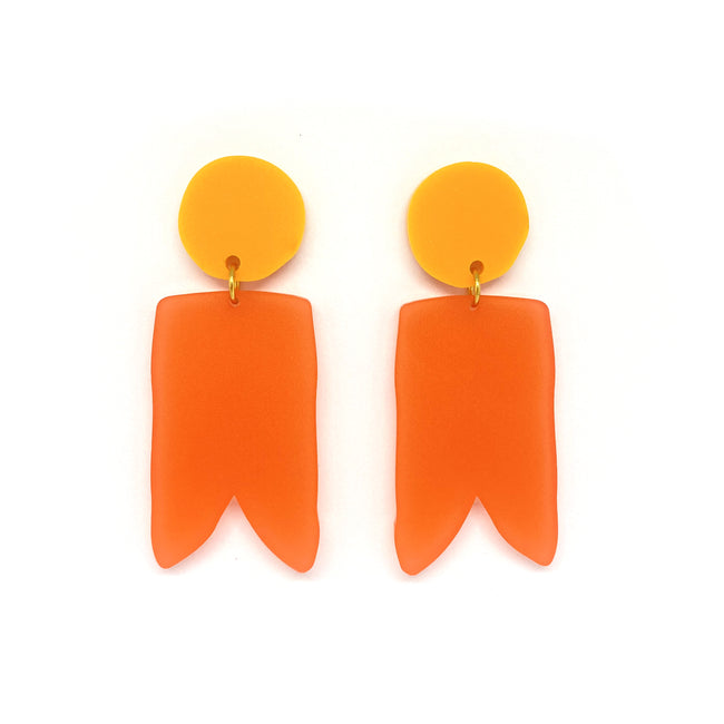 Tangerine and Coral Birdies Earrings