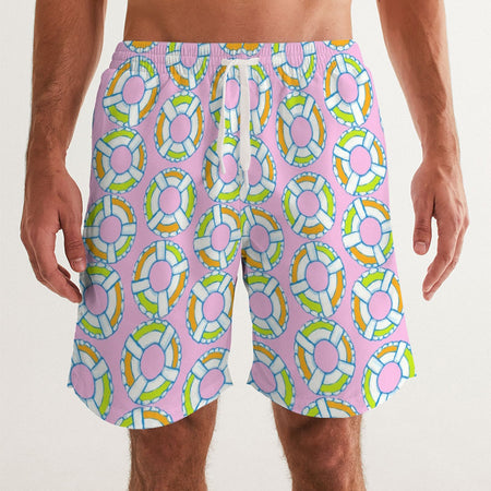 Pale Pink Lifesaver Men's Swim Trunks