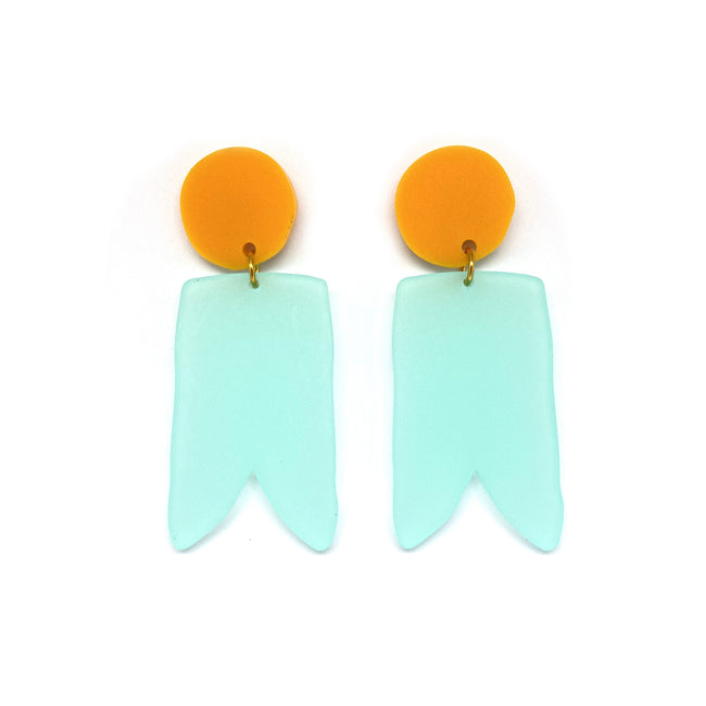 Tangerine and Turquoise Birdies Earrings