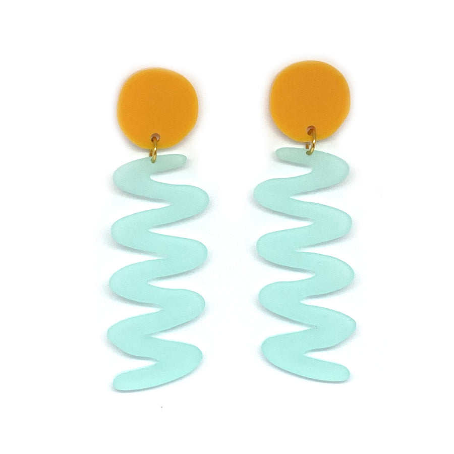 Tangerine and Turquoise Zags Earrings
