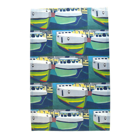 Green Staggered Tugs Tea Towel