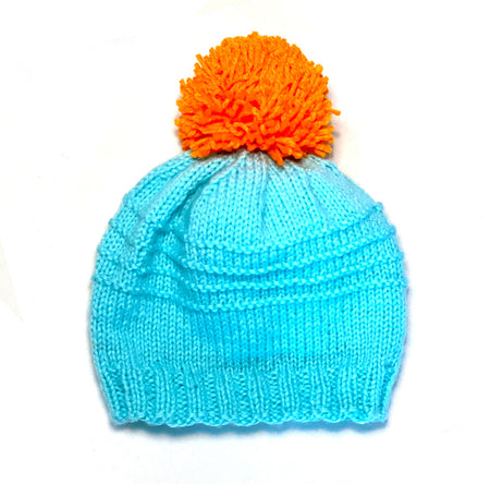 Sky and Orange 4 Row Garter Pom Winter Hat