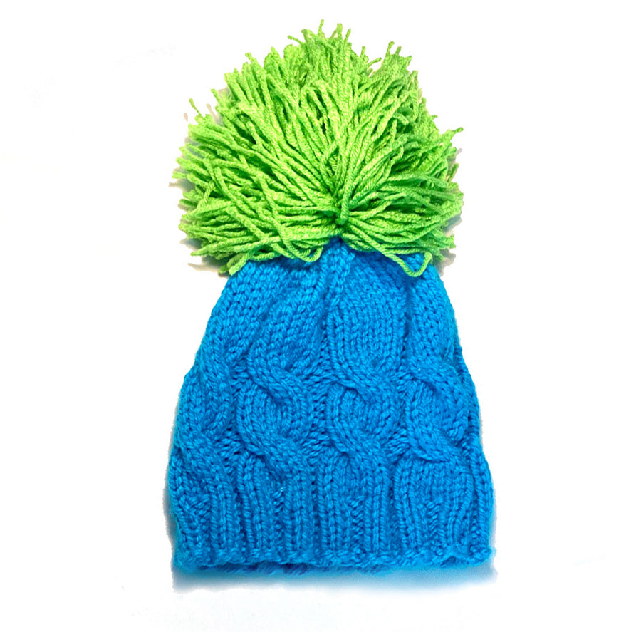 Surf and Citron Large Cable Pom Winter Hat