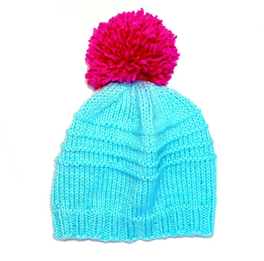 Sky and Hot Pink 4 Row Garter Pom Winter Hat