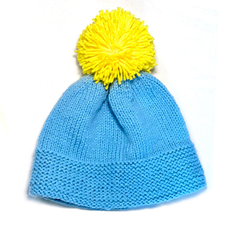 Blue Gray and Bright Yellow Garter Pom Winter Hat