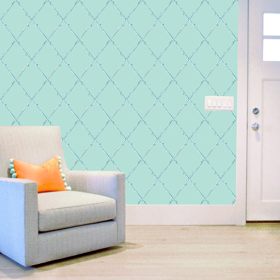 Soft Turquoise Birch Lattice Wallpaper