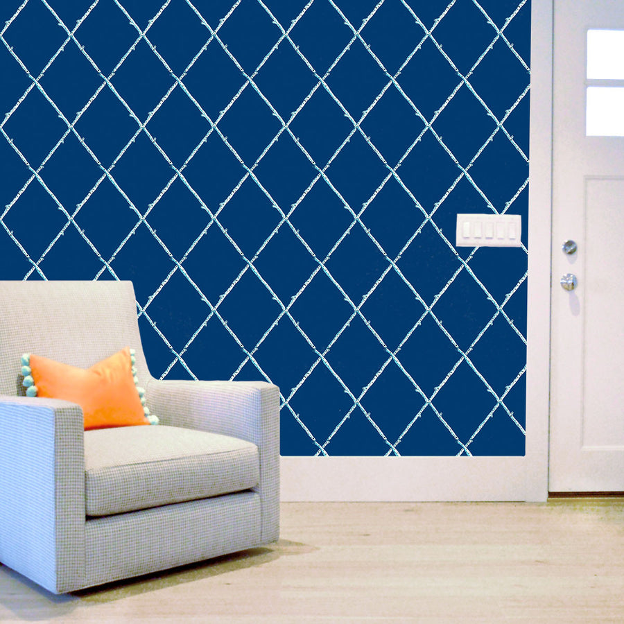 Navy Birch Lattice Wallpaper