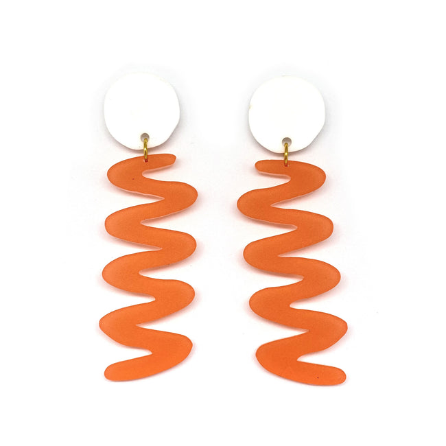 White and Coral Zags Earrings