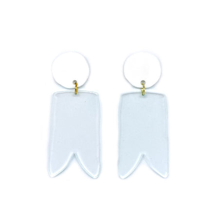 White and Glass Birdies Earrings