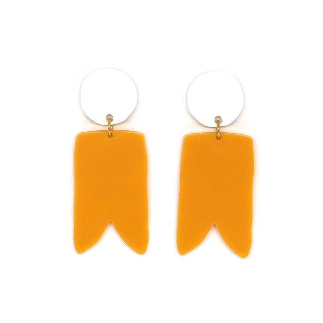 White and Tangerine Birdies Earrings
