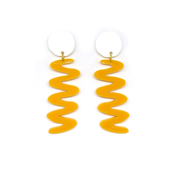 White and Tangerine Zags Earrings