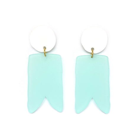 White and Turquoise Birdies Earrings