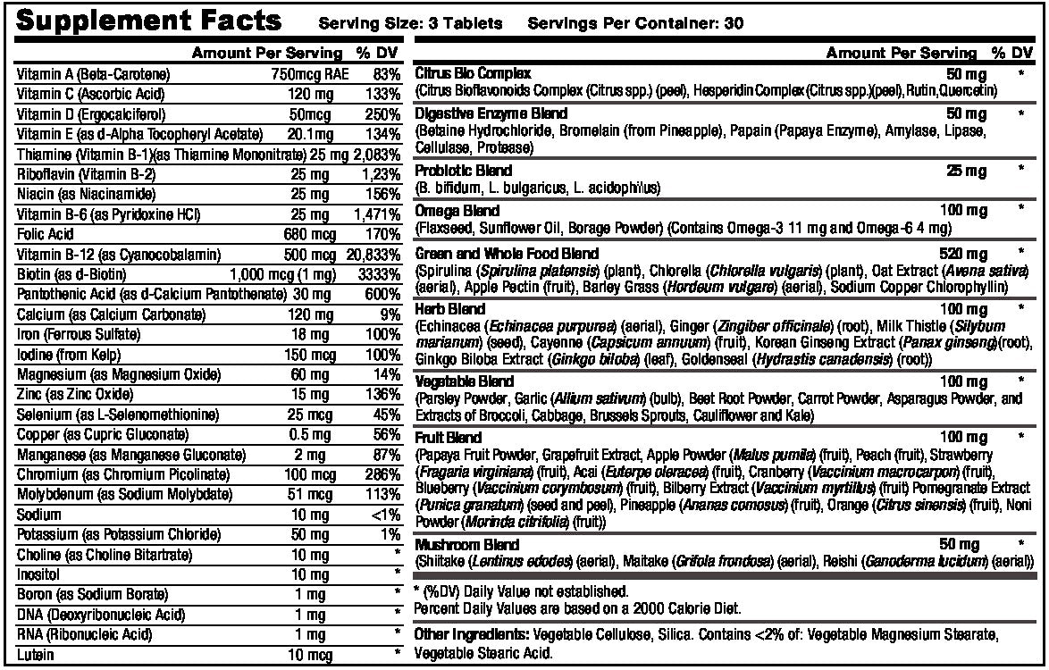 Whole Food Supplement Fact Sheet