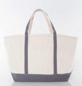 LARGE CANVAS BOAT TOTE - GRAY