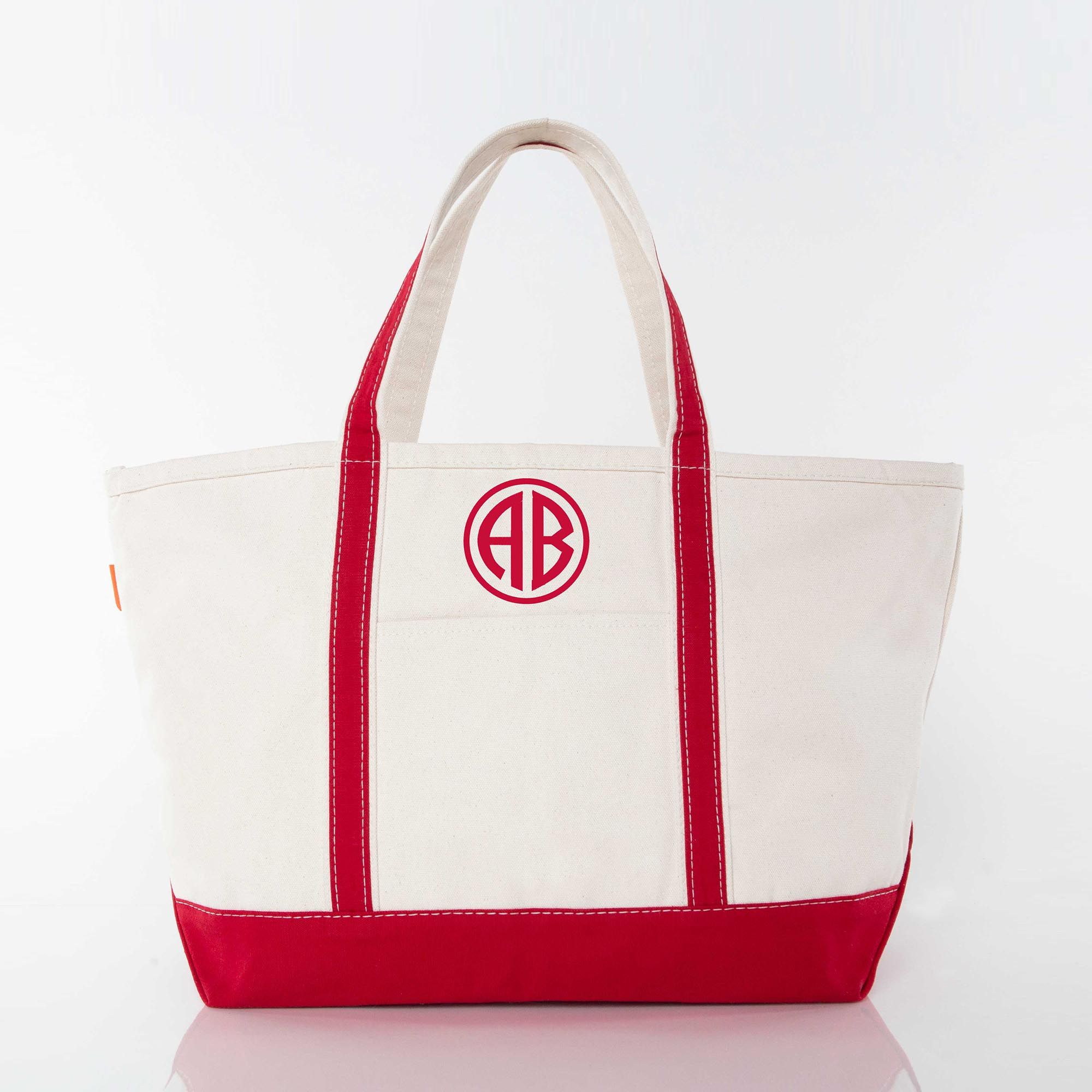 LARGE CANVAS BOAT TOTE - RED