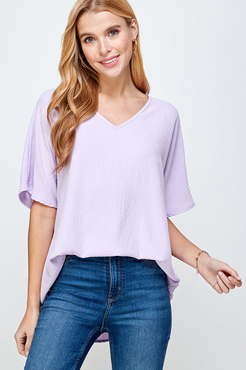 SOLID V-NECK TOP - LILAC
