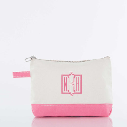 CANVAS MAKEUP BAG - CORAL