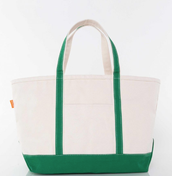LARGE CANVAS BOAT TOTE - EMERALD