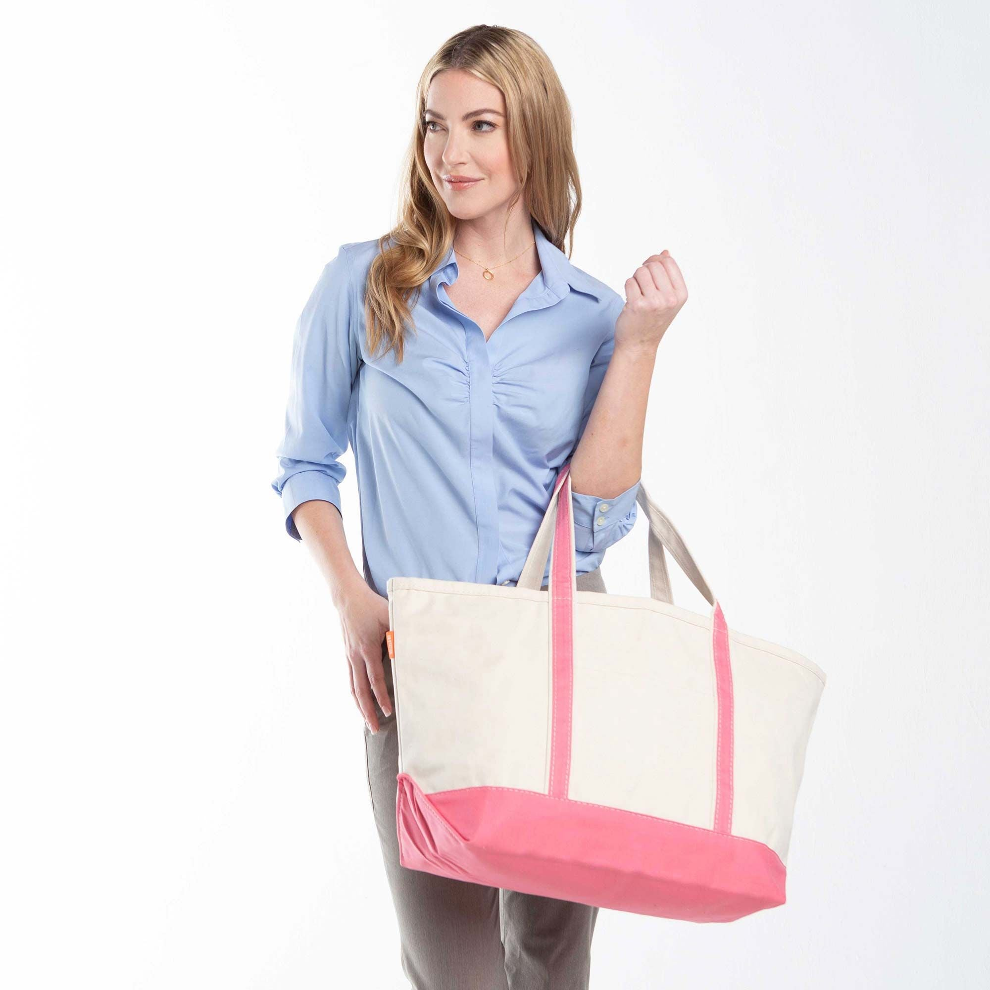 LARGE CANVAS BOAT TOTE - CORAL