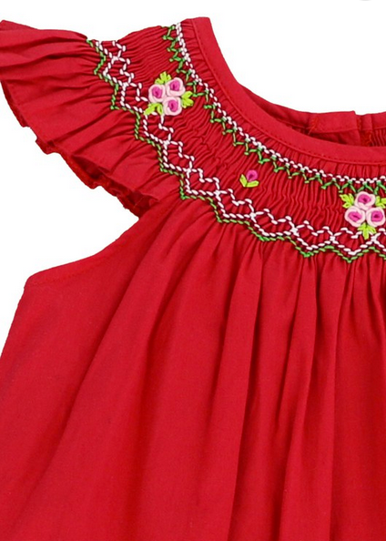 HANDSMOCKED ANGEL SLEEVE DRESS - RED