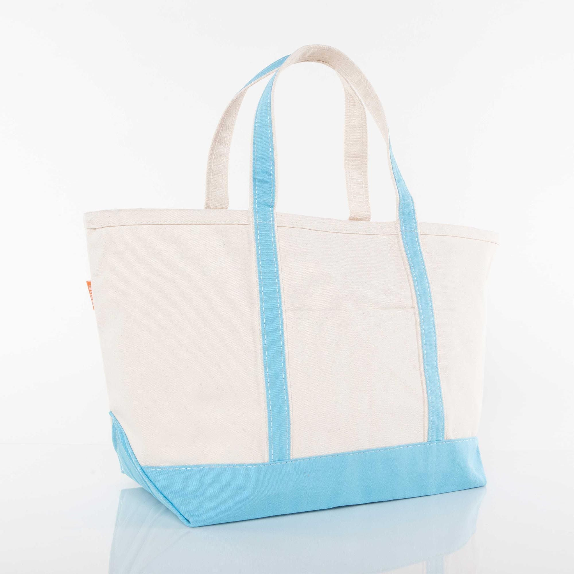 LARGE CANVAS BOAT TOTE - BABY BLUE