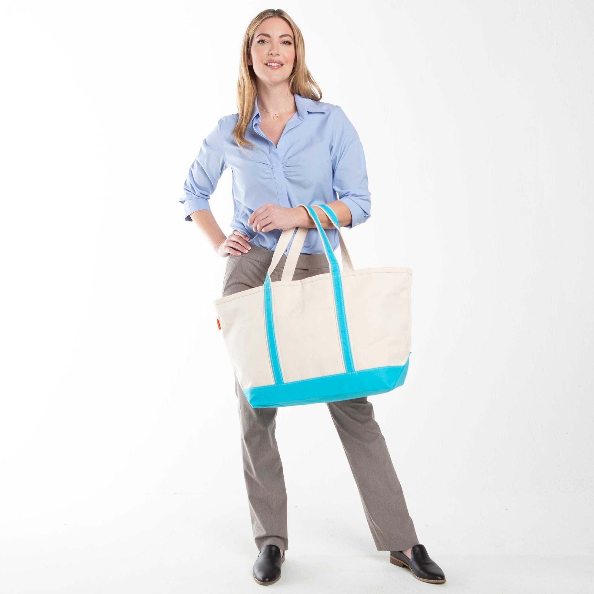 LARGE CANVAS BOAT TOTE - TURQUOISE