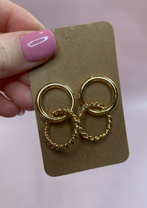 TWISTED GOLD DOUBLE HOOPS