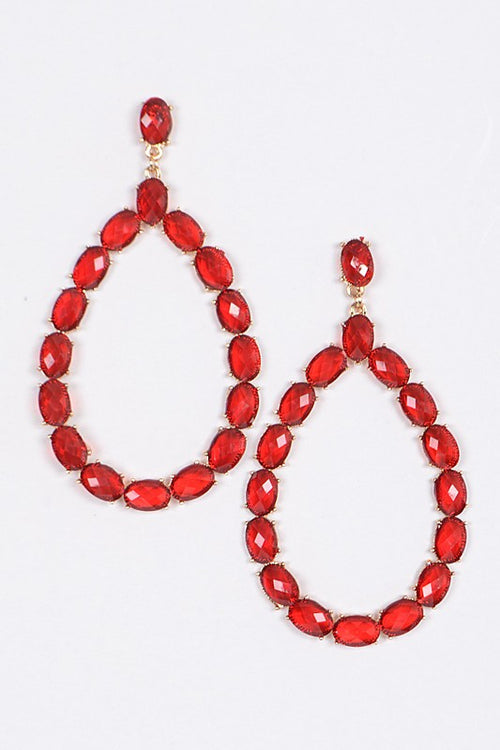 TEARDROP CRYSTAL EARRING - RED