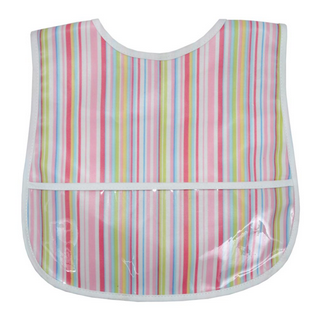 LAMINATED BIB - PINK STRIPE