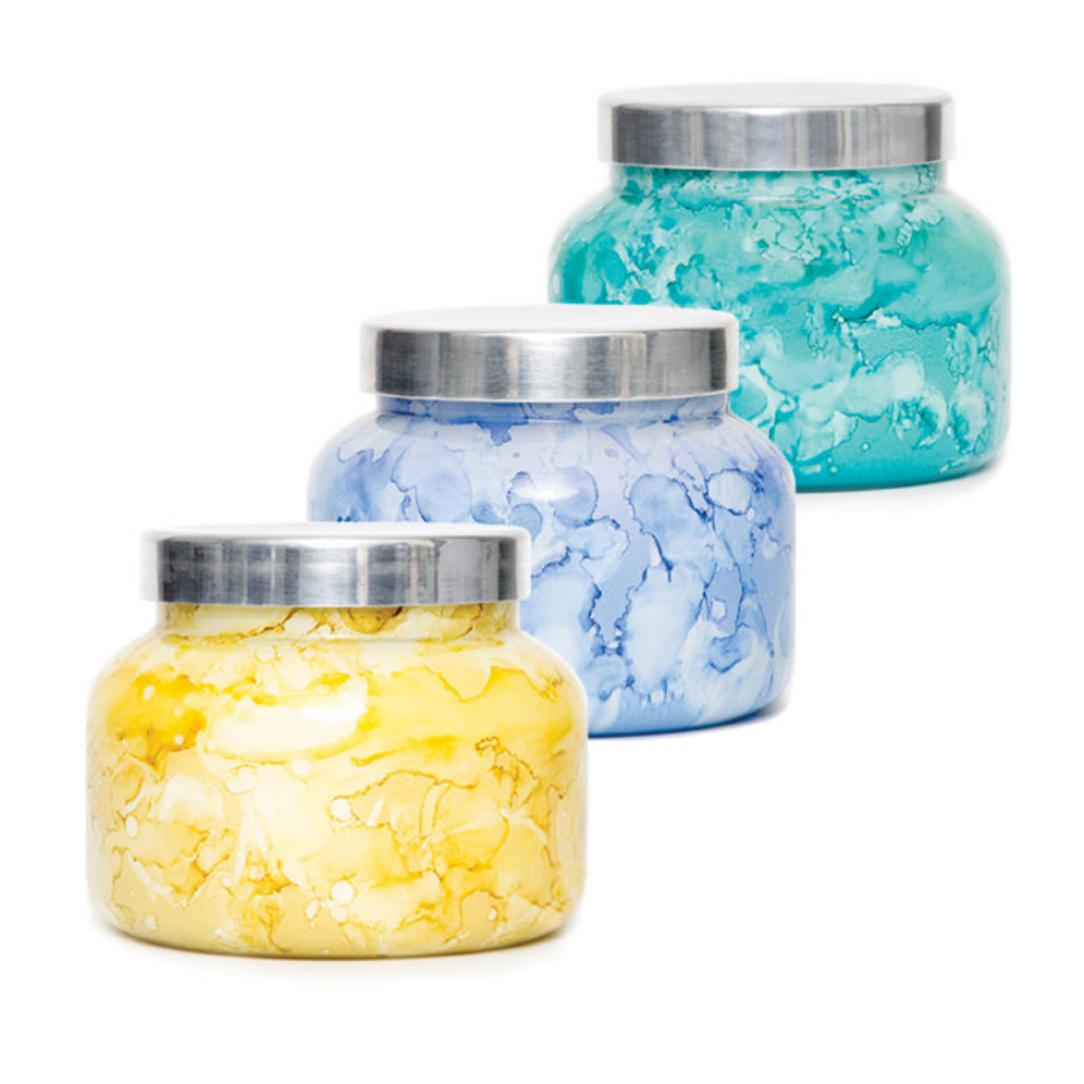 8 OZ WATERCOLOR JAR CANDLE - BLUE JEAN