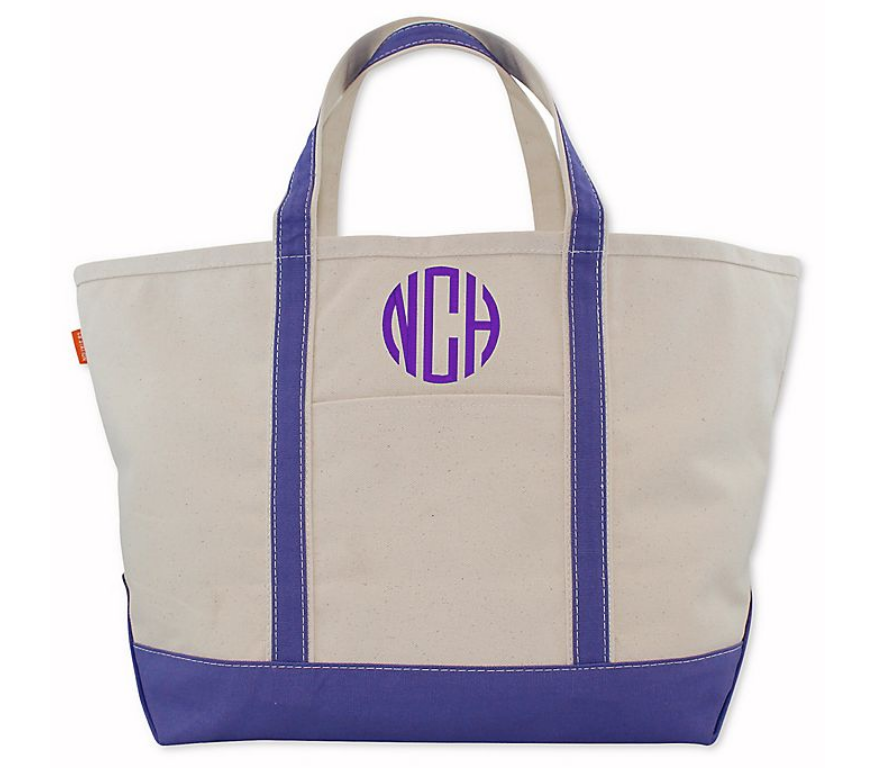 MEDIUM CANVAS BOAT TOTE - VIOLET