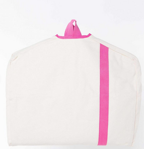 CANVAS GARMENT BAG - WHITE WITH HOT PINK