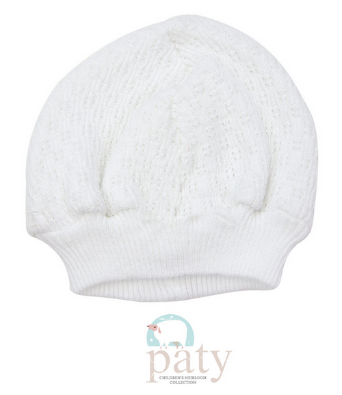 WHITE BEANIE CAP WITHOUT BOW