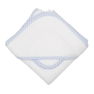 HOODED TOWEL & WASHCLOTH SET- BLUE CHECK PIQUE