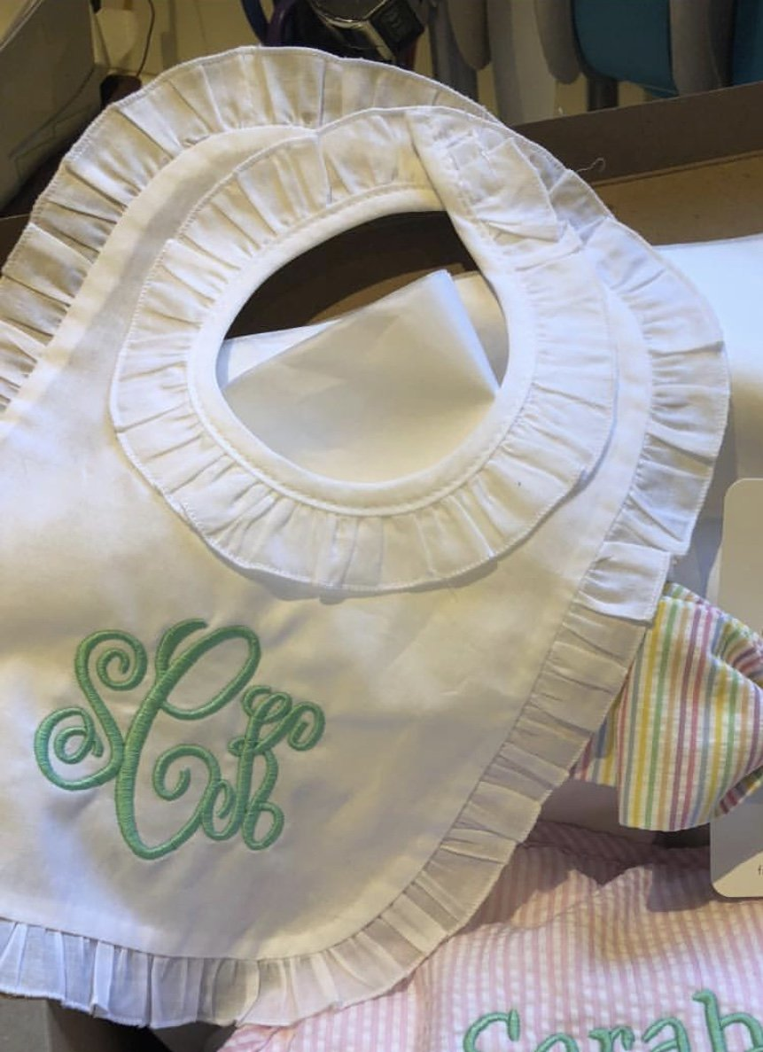 LINEN RUFFLE  BIB (MONOGRAM OPTIONAL)