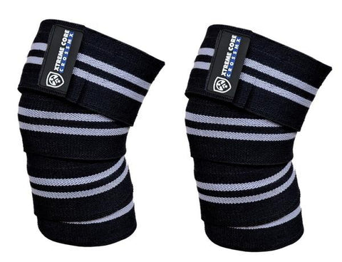 Knee Wraps Negras con Blanco - Xtreme Core Crossfit