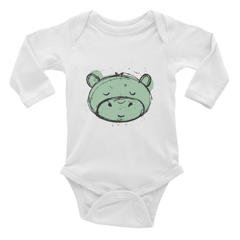 Hippo Infant Long Sleeve Bodysuit