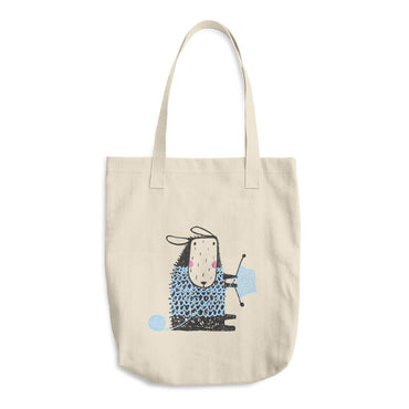 Sheep Knitting with Pale Blue Yarn Cotton Tote Bag