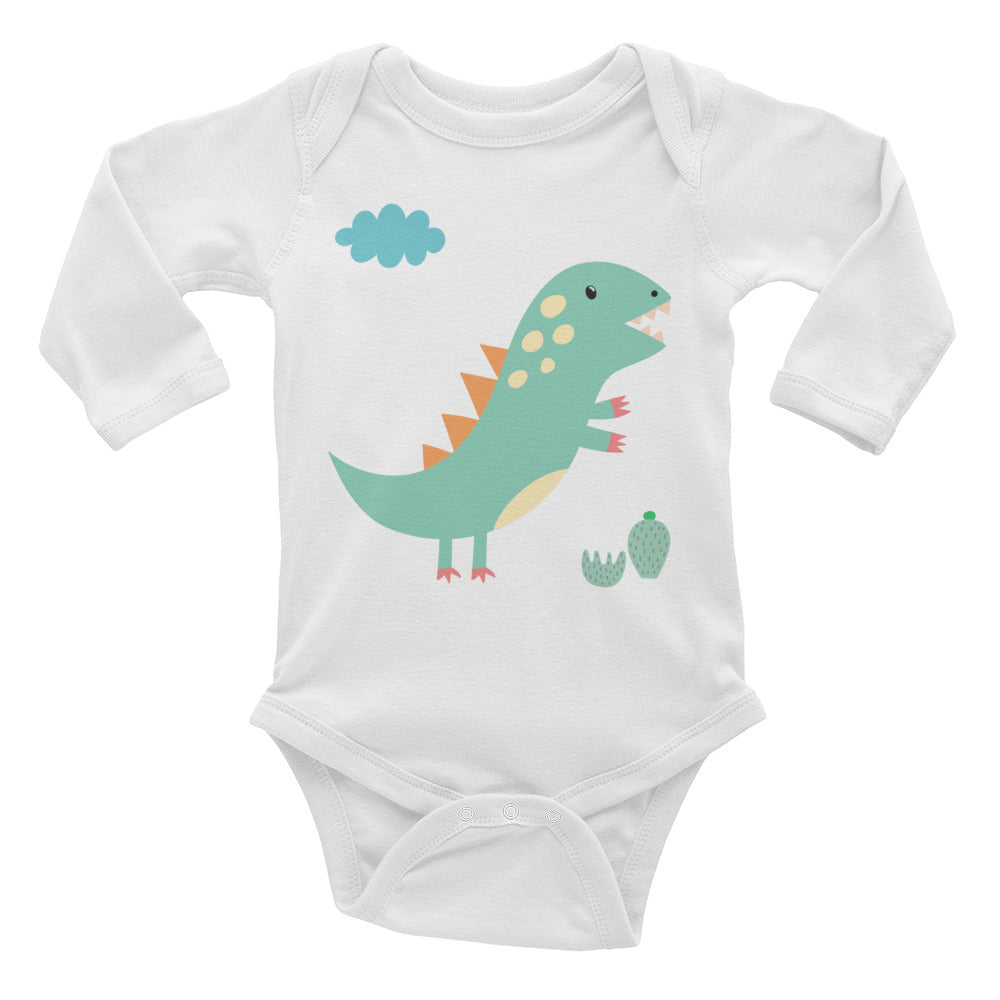 Green Dinosaur Infant Long Sleeve Bodysuit
